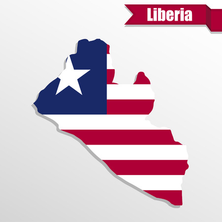 pentacle: Liberia map with flag inside and ribbon