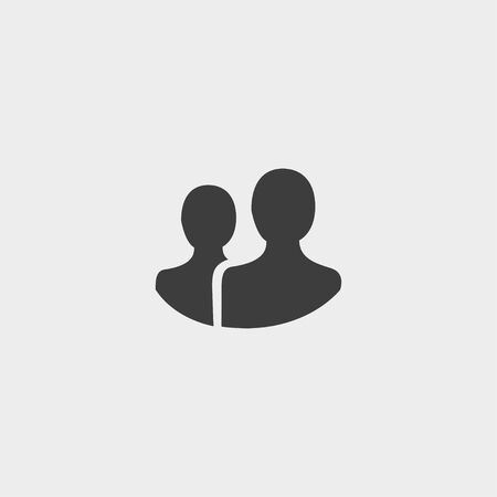 multiple personality: People icon in a flat design in black color. Illustration