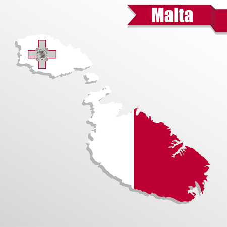 malta map: Malta map with flag inside and ribbon
