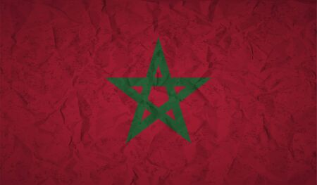 beautify: Morocco flag with the effect of crumpled paper and grunge
