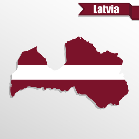 latvia: Latvia map with flag inside and ribbon