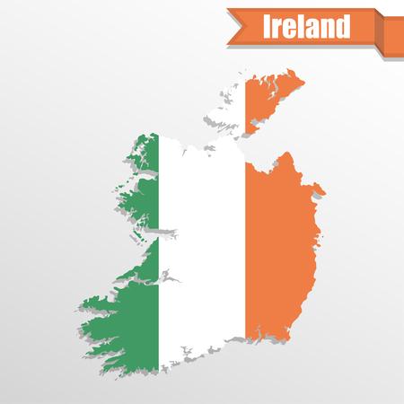 eire: Ireland map with flag inside and ribbon Illustration