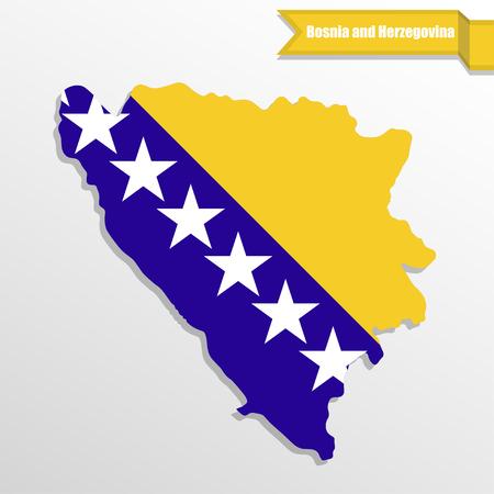 bosna and herzegovina: Bosnia and herzegovina map with flag inside and ribbon Illustration