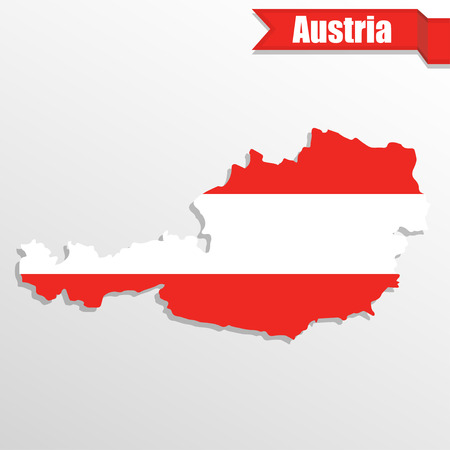 Austria map with flag inside and ribbon