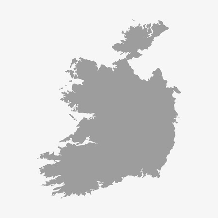 ireland map: Ireland map in gray on white background Illustration
