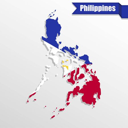 philippines map: Philippines map with flag inside and ribbon Illustration