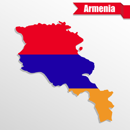 map of armenia: Armenia map with flag inside and ribbon