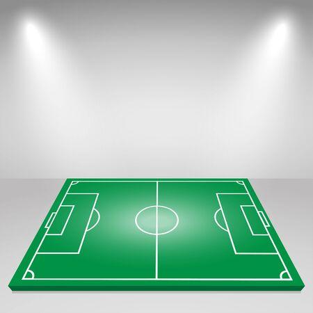 Grüne Fußballplatz, Flutlicht, Beleuchtung. Vektor-Hintergrund