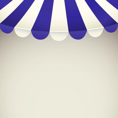 window shade: Blue and white strip shop awning with space for text