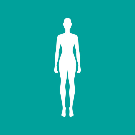 Woman body outline in white. Vector illustration