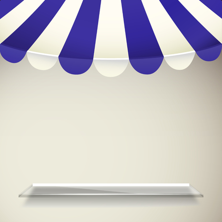 vitrine: Blue and white strip shop awning with transparent shelf