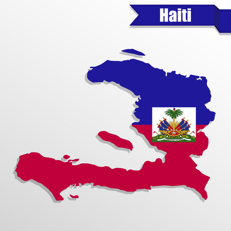 main: Haiti map with flag inside and ribbon