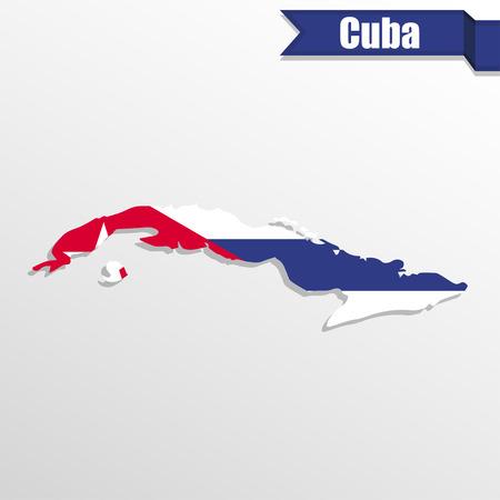 bandera de cuba: Cuba mapa con la bandera y la cinta en el interior Vectores
