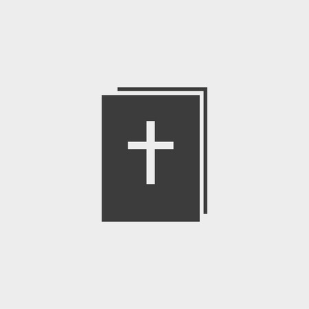 baptist: Bible icon in a flat design in black color.