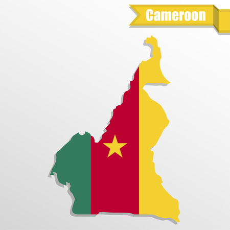 bonny: Cameroon map with flag inside and ribbon