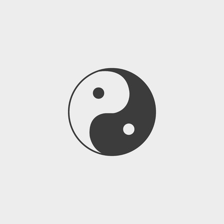 symbole: Yin Yang icon in a flat design in black color. Vector illustration eps10