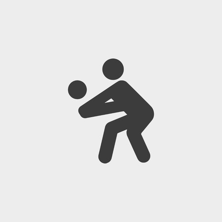 ballsport: Volleyball player icon in a flat design in black color.