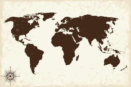 carte du monde Old avec grunge. Vector illustration