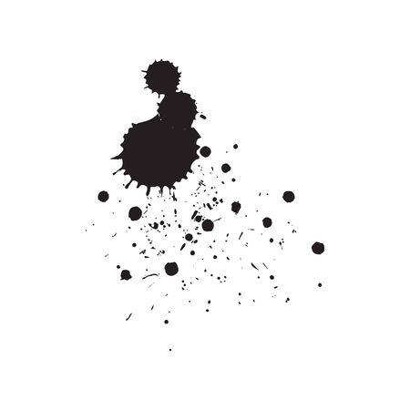 splattered: Ink Splash Background . Black Paint Splattered Shape . Grunge Background Texture Illustration