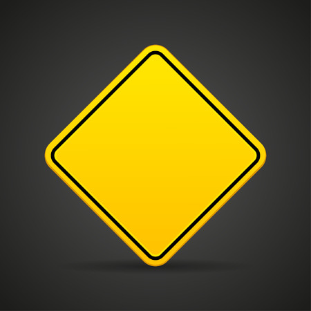 the old road: Blank yellow road sign on a black background. Vector illustration Illustration