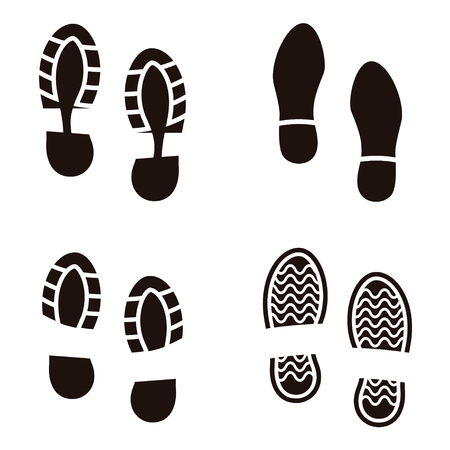imprint: Collection of a imprint soles shoes. Vector illustration