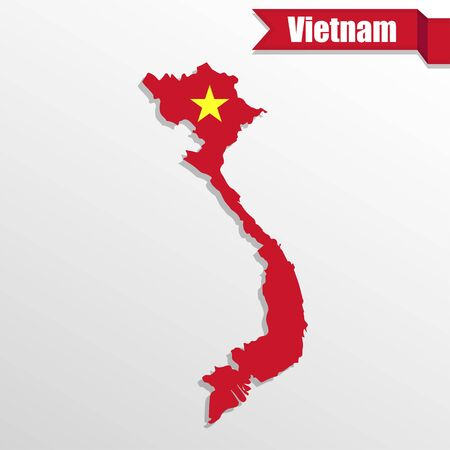 indochina peninsula: Vietnam map with flag inside and ribbon