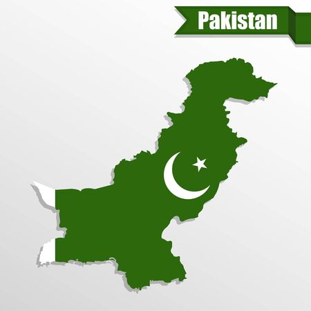 islamabad: Pakistan map with flag inside and ribbon