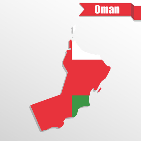 gulf: Oman map with flag inside and ribbon