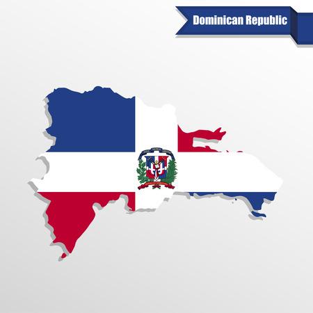 Dominicaanse Republiek kaart met vlag binnenkant en lint