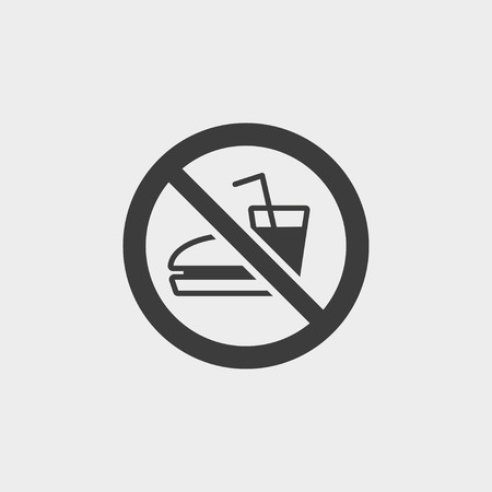 pernicious: No Fast Food icon in a flat design in black color.