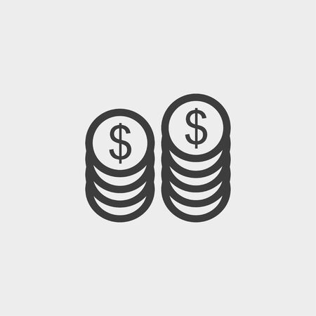monet: Dollars money coin icon in a flat design in black color.
