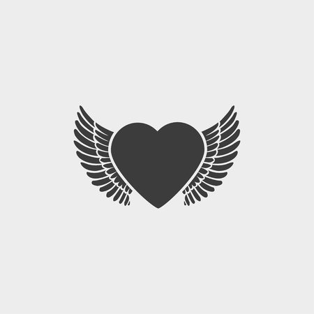 Heart and Wings icon in a flat design in black color. Vetores