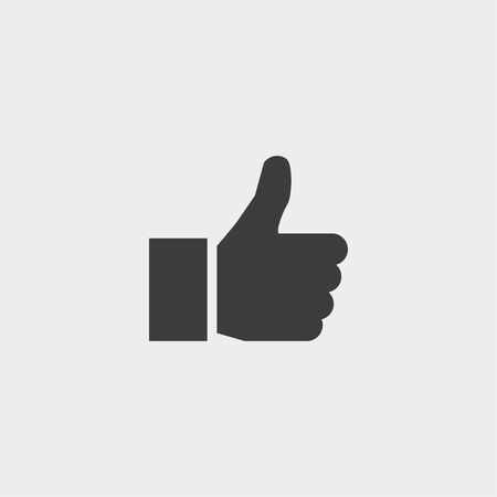 thumbs up icon in a flat design in black color.