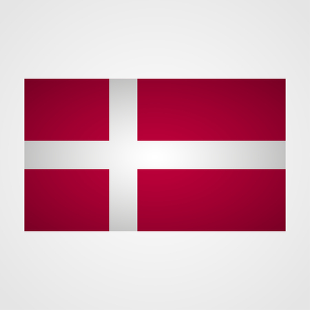 correctly: Denmark flag on a gray background. Vector illustration