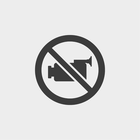 no cameras allowed: No video icon in a flat design in black color. Vector illustration eps10