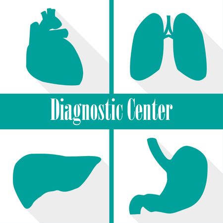 pulmonology: Icons diagnostic centers in a flat design. Heart, lungs, liver, stomach Illustration