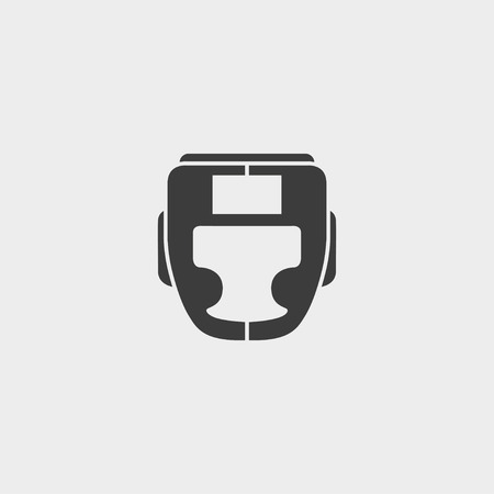 Boxing helmet icon fish icon in a flat design in black color.