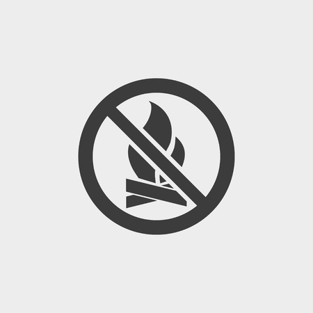 forewarn: No Fire icon in a flat design in black color. Vector illustration eps10 Illustration