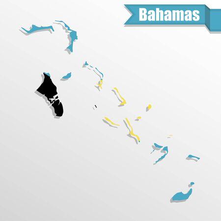 bahamas: Bahamas map with flag inside and ribbon