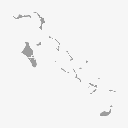 bahamas map: Bahamas map in gray on a white background