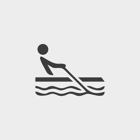 rowboat: Rowing icon in a flat design in black color.