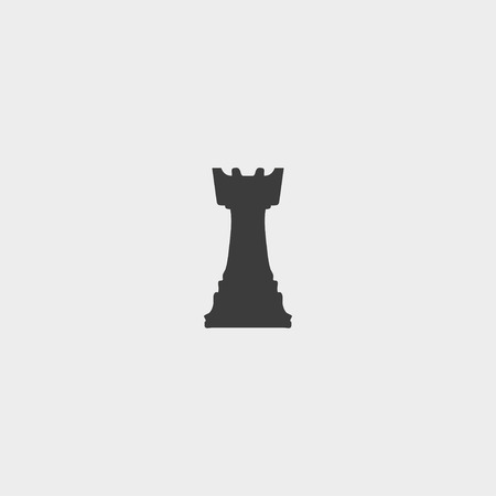 chess rook: Chess rook icon in a flat design in black color.
