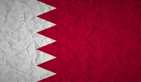 identifier: Bahrain flag with the effect of crumpled paper and grunge