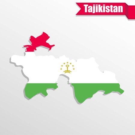 tajikistan: Tajikistan map with flag inside and ribbon
