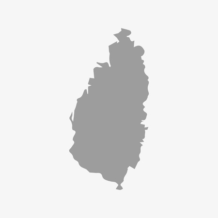 windward: Saint Lucia map in gray on a white background Illustration