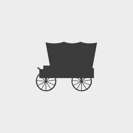 brougham: Carriage icon in a flat design in black color.
