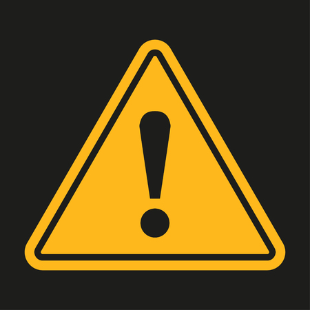 Danger sign. Exclamation point on a black background. Vector illustration