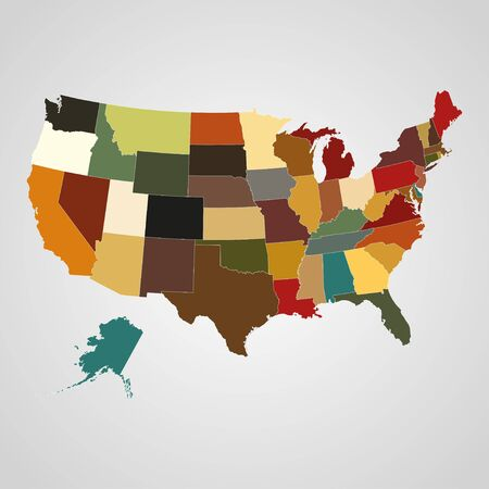 separated: United States map with separated states. Vector illustration