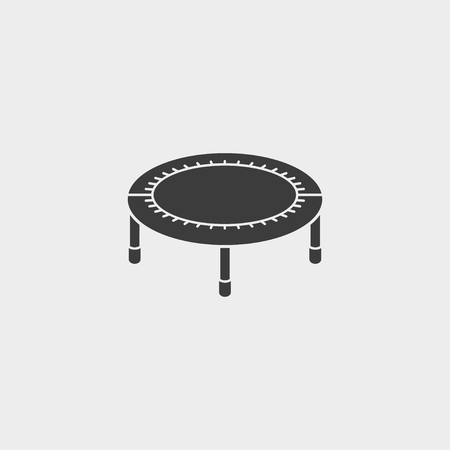bouncing: Bouncing bed icon fish icon in a flat design in black color