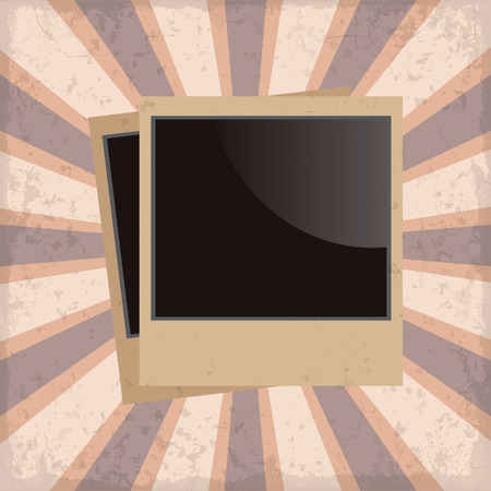 feature films: Photo frame retro on a sun rays background with grunge Illustration